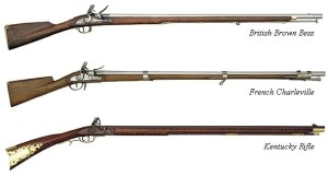 Common rifles used in the Revolutionary War.
