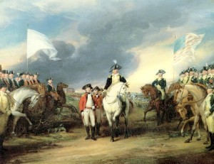 The British (center) surrender to French (left) and American (right) troops, at the Battle of Yorktown in 1781.